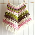Crochet Poncho - alpaca, wool - pink & cream - toddler girl