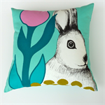 Easter Bunny Cushion Cover in Aqua, Pink, Jade, Charcoal, Emerald, Teal, White