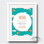 Flying Birds Birth Stat Nursery Print