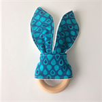 Teardrop blue fabric teething bunny