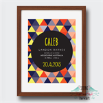 Geometric Triangles Birth Stat Nursery Print