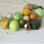 Hunter gatherer, olive pear green extra chunky metallic statement necklace