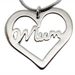 Mum Heart Necklace - Sterling Silver
