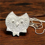 Sterling silver quirky owl pendant
