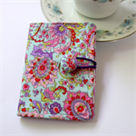 Tea Bag Wallet - Purple & Pink Pastel Paisley on baby blue
