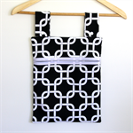 Laundry Fun Peg Bag - Black & White curvy square dance