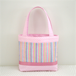 Mini Tote Bag - Pink Stripe