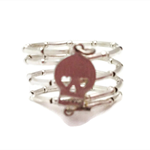 Silver skull wire wrap ring