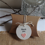 Kraft pillow boxes and thank you glitter heart tags, set of 10