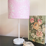 Pink, white & silver floral table lamp.