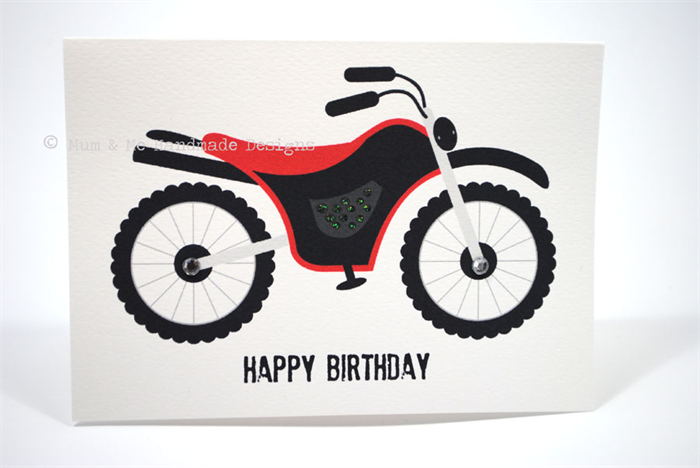 Happy Birthday Card Boy Red and Black Motorbike HBC087 – Motorbike Birthday Cards