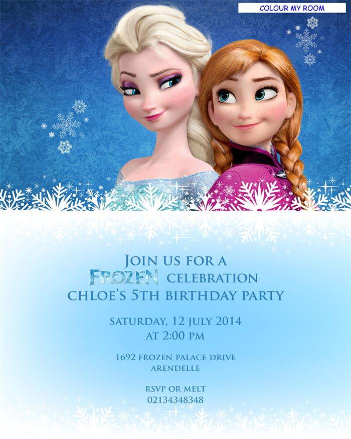 Printable Frozen Birthday Party Personalised Invitation 5x7 Card