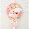 Hot air balloon hair clips holder, felt, pink, yellow, flowers