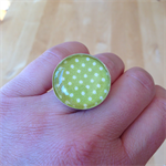 OLIVE GREEN PIN DOT RING