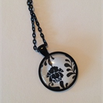 Black Floral  Pendant Tray with Imaged Glass Dome & Chain
