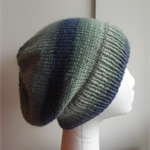 Hand-Knit Adult/Teen Slouchy Beanie Hat, Green, Grey