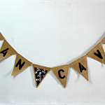 MAN CAVE and Skull Burlap Hessian Mini Bunting- Father's Day Pop Grandad Dad