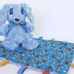 Blue Bunny Rabbit and Baby Tag Blanket
