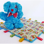 Aqua Rabbit and Baby Tag Blanket