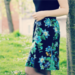 Aline skirt peacock oriental, green, yellow, blue black print Wanderlust Women