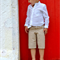 boys shorts - beige straight cut shorts