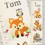 (Woodland Friends) Personalised Fabric Growth Chart Digitally printed 30x106cm