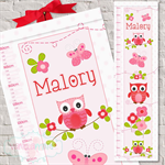 {Sweet Cherry Owls} Personalised Fabric Height Chart  - 30x106cm