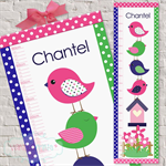 (Preppy Bird Stack Fabric Height Chart ) Personalised - 30x106cm