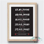 Love Story Wedding Anniversary Date Wall Art Print