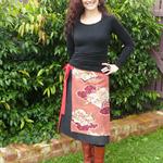 Vintage Kimono Panel A-Line Wrap Skirt Free Size by Redressd