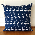 Outdoor Cushion Cover - Navy Blue and White Flamingo