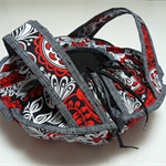 Casserole Carrier - red black and white flowers