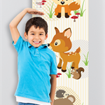 {Woodland Friends} Personalised Fabric Growth Chart Digitally printed 30x106cm
