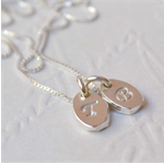 Hand Stamped Petite Initial Necklace (Double Tag) - Sterling Silver