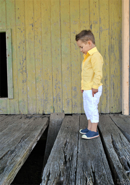 boys shirt - yellow long sleeved summer shirt