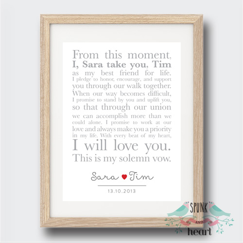 Unique Wedding Anniversary Gifts Australia : Wedding Anniversary Vows Wall Art Print Spunk and Heart madeit.com ...