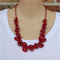 Red Crochet Wire Handmade OOAK Necklace Earring Set Top Shelf