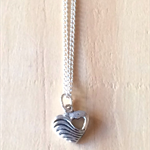 ANTIQUE SILVER SMALL WAVE LOVE HEART PENDANT NECKLACE - FREE SHIPPING