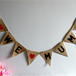 WE LOVE MUM Burlap Hessian Mini Bunting - Mother's Day Birthday