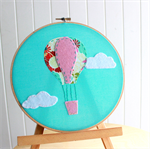 In the Clouds - Hoop Art - hot air balloon nursery decor