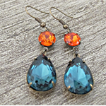 SALE Earrings Kiahla Glam It Up Vintage Glass Jewels Bridal Blue Orange