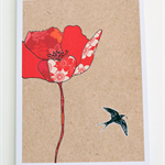 Red Poppy Greeting Card - Blank - Collage - Free Postage - Mother's Day