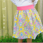 Mahli skirt in a bright yellow and pink jennifer paganelli fabric