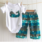 Baby Boy Baggy pants outfit - sailboats - whale applique onesie