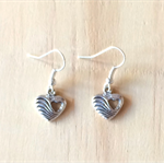 ANTIQUE SILVER SMALL WAVE LOVE HEART EARRINGS - FREE SHIPPING