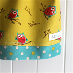 Owl skirt - winter baby cord - green, raspberry, teal