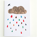 Raincloud Greeting Card - Blank - Collage - Free Postage