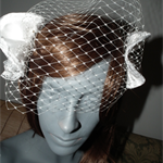 SALE..Entwined Love..wedding Birdcage White headpiece satin lace netting veil