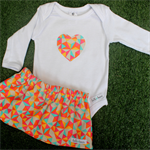 Baby Skirt Set - Neon Geo -Love Heart applique onesie