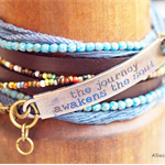 Boho 3x Blue The Journey Awakens the Soul Wrap Bracelet  (6-7 inch) OOAK